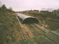 The tunnel at Gerrard's Cross, in March 2005, from the Marsham Lane Bridge, which will become the Eastern Portal